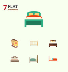 Flat set of crib cot furniture and other vector