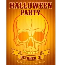 Halloween Party Background with Human Skull vector image vector image