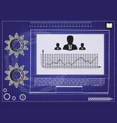 Laptop and graph vector
