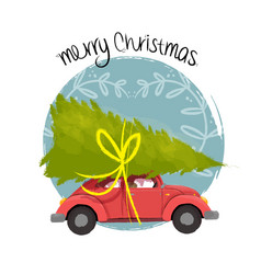 Merry christmas retro car with tree vector
