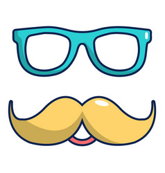 Nerd glasses and mustaches icon cartoon style vector