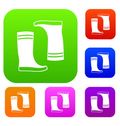Rubber boots set collection vector