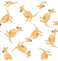 Seamless Funny Cartoon Kangaroo vector image vector image