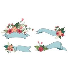 Set of ribbon with flower vector image vector image