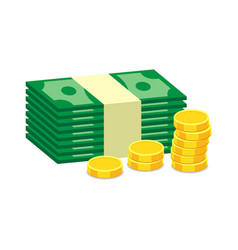 Stacks of gold coins and dollar cash in flat vector