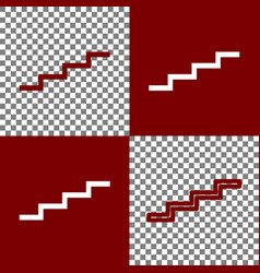 Stair up sign bordo and white icons and vector