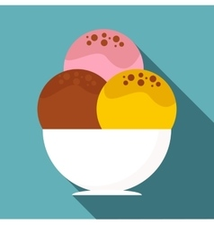Three scoops of ice cream in bowl icon flat style vector image