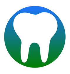 Tooth sign white icon in vector
