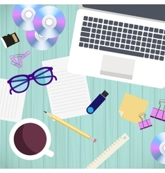 Top view of office workplace and accessories on vector