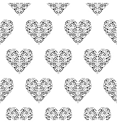 Tribal heart shape ornament seamless vector image vector image