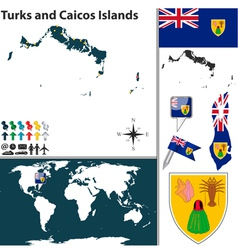 Turks and caicos islands map world vector