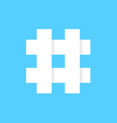 White hashtag icon on blue background vector