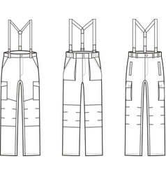 Work pants with braces vector