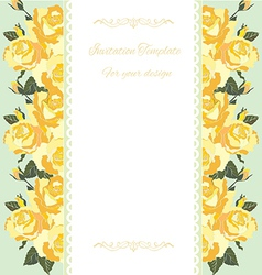 Yellow rose border floral card vector