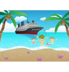 Cruise to beach vector