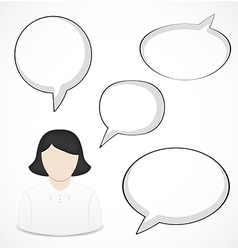 Business woman and speech bubbles vector