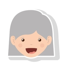 Front face elderly woman with straight short hair vector