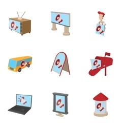 Advertising goods icons set cartoon style vector