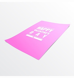 Happy valentines day on pink paper realistic 3d vector