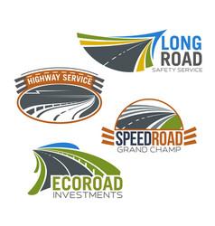 Highway road or motorway icons set vector