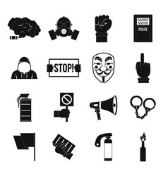 Protest icons set simple style vector