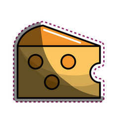 Sticker delicious and taste cheese food vector