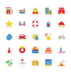 summer and holidays icons 9 vector image