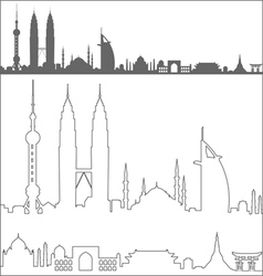 Asian landmarks profile vector
