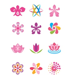 Symbols icons flowers vector