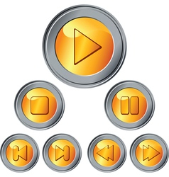 Gold and silver buttons vector