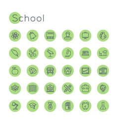 Round school icons vector