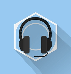 Gaming gear flat icon headphone vector