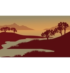 Silhouette of river at the morning vector