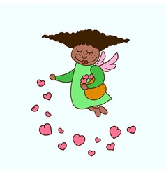 African american little angel with hearts vector