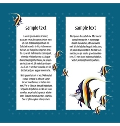 Angelfish on a blue background with card for text vector image vector image