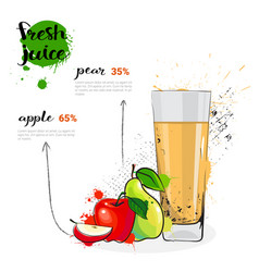 Apple pear mix cocktail of fresh juice hand drawn vector