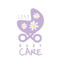 Baby care logo design emblem with purple baby vector