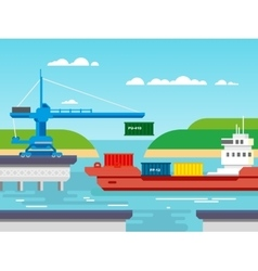 Cargo Freight Shipping by Water vector image
