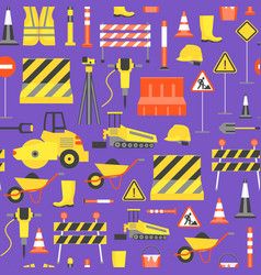 cartoon road construction background pattern on a vector image vector image