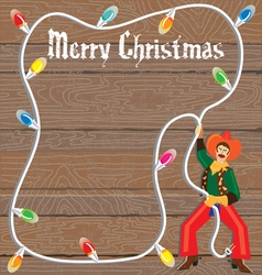 cowboy with christmas lights lasso vector image
