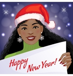 Cute African American girl with New Year greetings vector image vector image