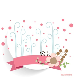 Cute note paper with ribbon and floral bouquets vector