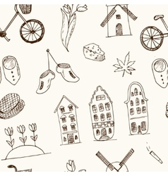 Doodle hand drawn seamless pattern holland icons vector