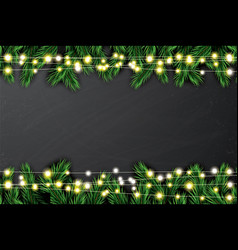 fir branch with neon lights on chalkboard vector image vector image