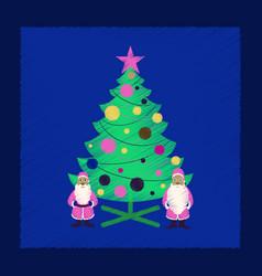 Flat shading style icon christmas tree santa claus vector