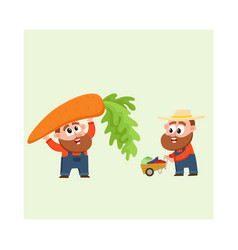 funny farmers harvesting vegetables holding giant vector image vector image