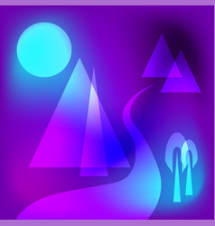 futuristic geometrical mountain scene vector image
