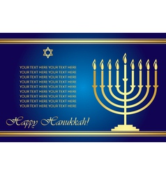 Happy Hanukkah wish card vector image vector image