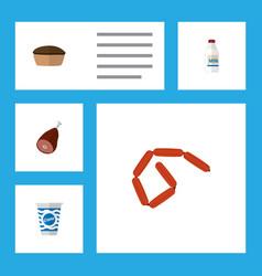 icon flat meal set of frankfurt cream ham and vector image vector image