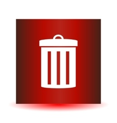 Icon garbage can on a red background image vector